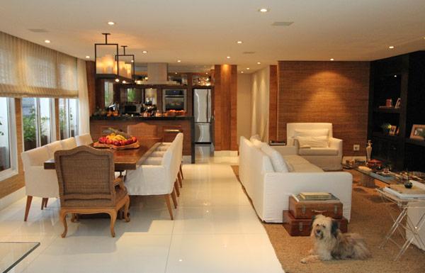 decoracao de cozinha integrada a sala de jantar:no segundo andar cozinha sala de jantar sala de tv